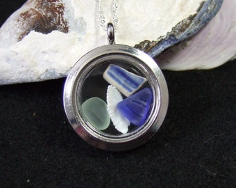Memories of Newfoundland Locket Necklace with Sterling Silver Chain Made in Newfoundland Beach Glass Cods Ear Blue Seafoam Pottery Shard