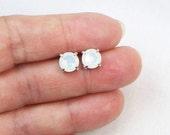 Swarovski Earrings - Swarovski Studs - Crystal Earrings - White Opal Earrings - Sterling Silver - Gift For Her