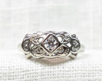 Art Deco Diamond Wedding Band in 14k White Gold .22 Carats; Vintage Wedding Ring; 1920s Promise Ring or Stacking Ring; Natural Diamonds