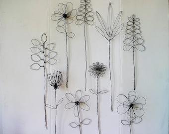 Wall Hanging Wire Flower Arrangement Or Bouquet