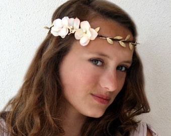 Wedding Flower Crown, Festival Headband, Gold Vine Peach Blush Hydrangea Flower Crown, Woodland Vine Crown, Floral Circlet