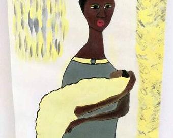 black african woman art ,black woman painting, black woman baby art, african american child art,green gray daffidile