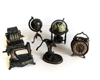 Durham Industries, Dollhouse Furniture, Metal Miniatures, Die Cast Metal, Set of Six, 1970's Toys, Vintage Miniatures, Cash Register, Globe