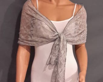 Lace pull thru bridal wrap wedding shawl scarf cover up long sheer prom evening shrug stole LW300 AVL IN silver gray and 4 other colors