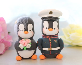 Unique Wedding cake toppers Military Penguins US Marine dress blue jacket with hat - LARGER size- pink peonies red black white gold elegant