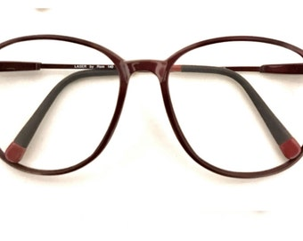 Vintage 80s Big Round Disco Log Lady Eyeglasses sale Burgundy Urban Sunglasses Frame HipHop Preppy Twin Peaks P3 Panto