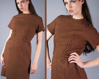 60s Mod Dress Brown Wool Dress Pinched Waist Dress 1960s Career Dress Office Dress