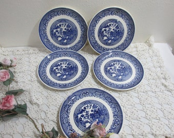 Blue Willow Plate 7.25 Inch Dessert Plate Set of 5