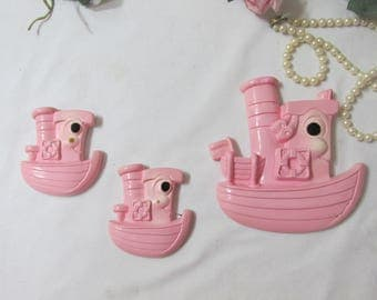 Tugboat Set of 3 Chalkware Wall Plaques Miller Studio 1974
