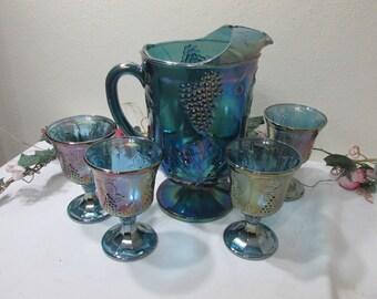 Blue Carnival Glass Pitcher and Goblet Set Indiana Glass Harvest Grape