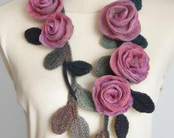 BELLA - Pink - Handmade Rose Crochet Leaf Lariat