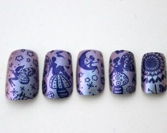 Magical Fairy Nails. Fairy Fake False Nails, Mystical Fake Nail, Faerie Press On Nails, Cute Nail Art, Kawaii Japanese Nail Art