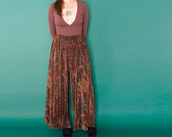 90s paisley MICRO pleat high waist WIDE leg pants S-M