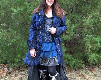Black and Blue and Captains Coat, Women's, Pirate Coat, Jacket, Renaissance, Costume, Halloween