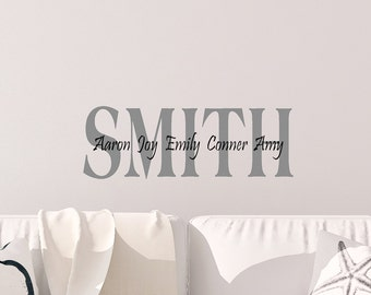 Custom Last Name With Family First Names Vinyl Decal
