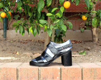 Handmade in the USA - Black Leather Heels - ( Sz 6, Eu 36 )