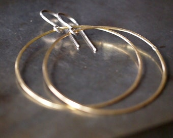 Gorgeous shiny large 18k yellow gold hoop earrings
