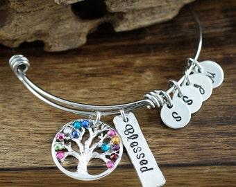 Grandma Family Tree Bracelet, Silver Tree of Life Bangle Bracelet, Birthstone Charm Bracelet, Hand Stamped Tree of Life Bracelet