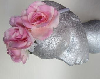 Large pink rose tiara, satin band, bridal headpiece, flower girl, bridesmaid hair accessories