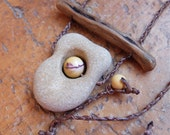 Hag stone, Mookaite, wood jewelry - wishing stone necklace -  Limestone beach pebble with natural hole pendant -  handmade in Australia