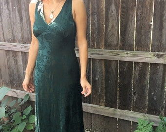 Vintage 90s HUNTER FOREST Green FLORAL Dress / Green Sleeveless Evening Gown / Womens Small