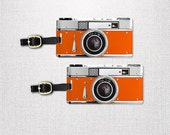 Personalized Luggage Tags Orange Retro Camera Metal Tag Set , Printed Personalized Information on Back, 2 Tags with Choice of Straps