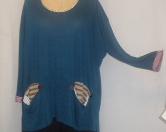 Womens Plus Size Top Coco and Juan Lagenlook Plus Tunic Size Teal Knit Tunic Top One Size Bust  to 62 inches