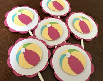 Beach Ball Party Cupcake Toppers, Beach Ball Birthday, Beach Ball Shower, Pool Party Decoration, Swim Party, Girl Beach Party, Set of 12