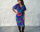 CLEARANCE Vintage 1980s Indigo Blue and Pink Jewel Tone Party Dress S/M