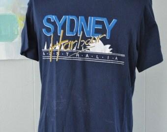 Distressed Australia Tee 80s Vintage Tshirt Sydney Harbour Opera House Super Soft n Thin Navy Blue LARGE