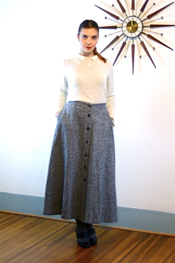 Vintage 80s Tweed Wool Skirt ORVIS High Waisted A-Line Nubby Black & White Twill Long Below the Knee Full Flared 1980s Preppy Hunting Skirt