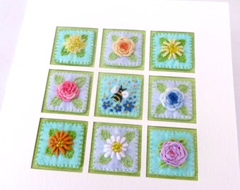 RESERVED FOR RENEE - Hand embroidered bee & flowers inchies card - 5.5 inch square handmade fibre art mothers day card -  art for framing