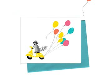 Vespa Raccoon Birthday Card, Sweet Party Raccoon on a  Vintage Vespa with Balloons