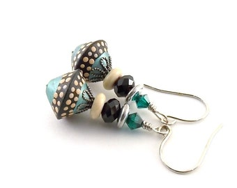 Turquoise and Black Polymer Clay Earrings, Polymer Earrings, Wire Earrings, Boho Earrings, Artisan Earrings, Small Earrings, Turquoise,AE105
