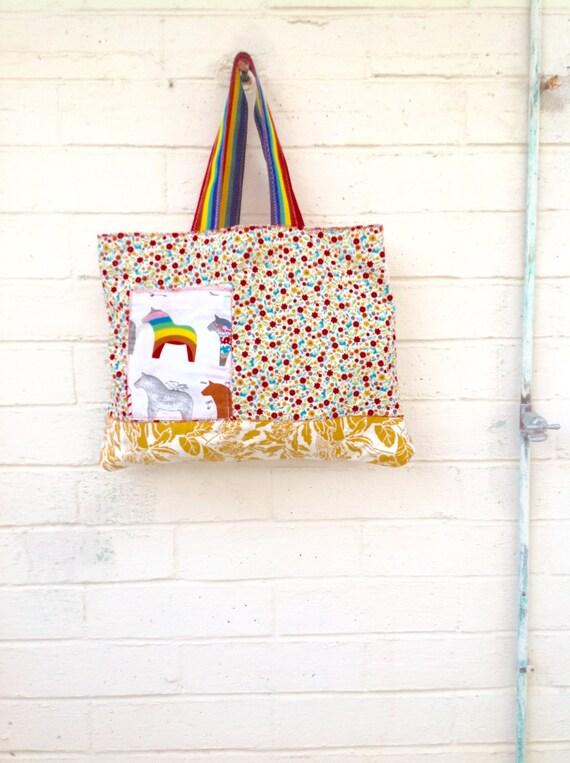 Rainbow Pride Market Bag/Repurposed Upcycled Market Bag/LGBT Bag/Eco Grocery tote bag/Peace Purse/Upcycled Bag/Upcycled Purse/No Plastic bag