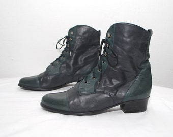 80s witchy ankle boots. lace up leather boots. two tone boots - eur 36, us 6 uk 3
