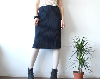 70s 80s knit skirt. navy skirt by Wolford. knee length skirt. ribbed knit skirt - xs, small