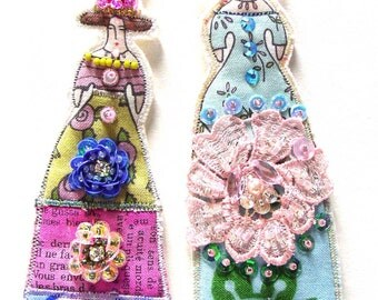 Whimsical Set of Two Doll Decorations Handmade Embellished Flat Fabric Tiny Doll Ornaments