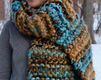 Super Chunky Scarf, Grande LATTE, hand knit, blue brown cream tan (1789)