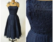 50s Navy Blue Silk Dress w Patchwork Block Soutache Embroidery by Henry A. Conder // Hourglass Pinup Perfection, New Look Inspired Style