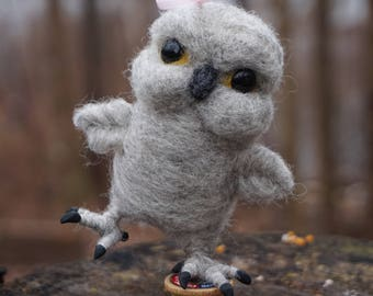 Needle Felted Miniature Grey Owl on Spool Sewing - Needlefelted Wool and Animal Soft Sculpture