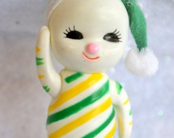 Vintage Christmas Ornament - Rubber Baby Snowman with Stripes