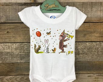 Curious George Parade Romper baby bodysuit onesie Gift for Shower under 25 HA Rey toddler book lover girl boy