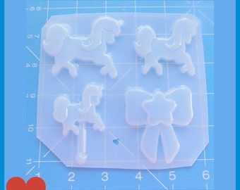 SALE Oh So Kawaii Unicorn Pallet 3 uniconrs and star bow Flexible Plastic Handmade Resin Mold