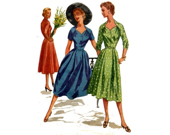 1950s Dress Pattern Sweetheart Neckline Ruched Sleeves Pleated Button Bodice Fit and Flare McCalls 3474 Bust 32 Vintage Sewing Pattern