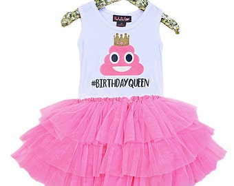 Emoji Birthday, Poop Emoji, Birthday Queen, Girls Tutu Dress, Pink Tutu, Girls Party Dress, Princess Poop Emoji, Emoji Party