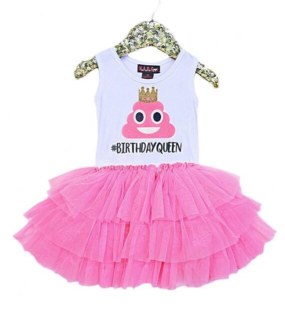 Emoji Birthday Poop Emoji Birthday Queen Girls Tutu Dress