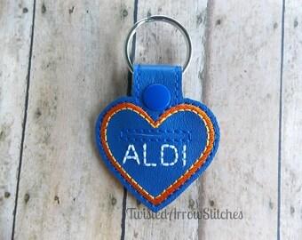 Quarter Keeper Key Chain, Aldi, Heart Shaped Key Fob *SALE*