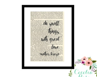 Do Small Things With Great Love Mother Teresa Inspirational Quote Upcycled Vintage Book Page Art Box Frame or Print