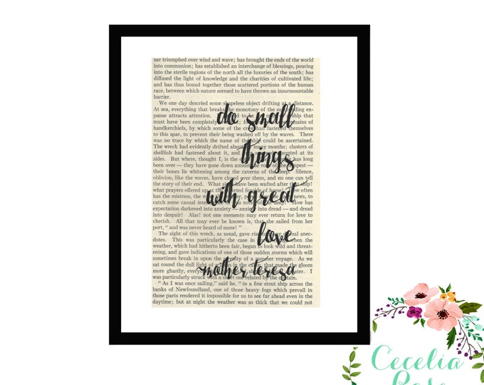Do Small Things With Great Love Mother Teresa Inspirational Quote Upcycled Vintage Book Page Art Box Frame or Print Farmhouse Style